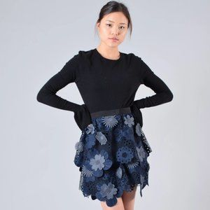 Self-Portrait Navy Embroidered Skirt